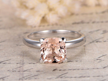 1 Carat Cushion Cut Solitaire Morganite Engagement Ring in White Gold