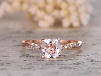 Infinity Design Forever 1.25 Carat Cushion Cut Morganite and Diamond Engagement Ring in Rose Gold