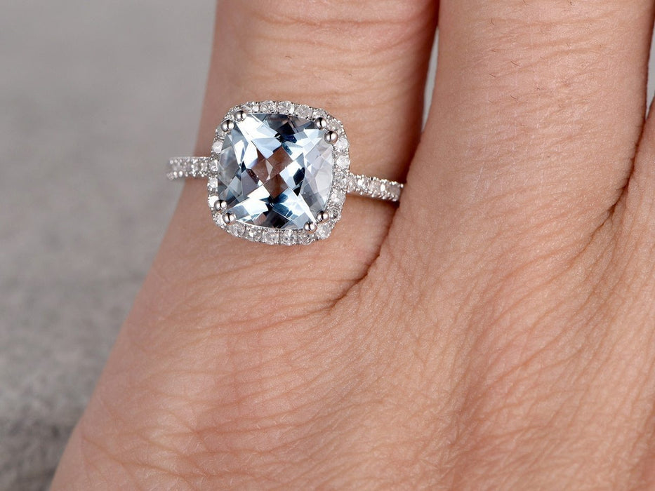 1.50 Carat Cushion Cut Aquamarine and Diamond Engagement Halo Ring in White Gold