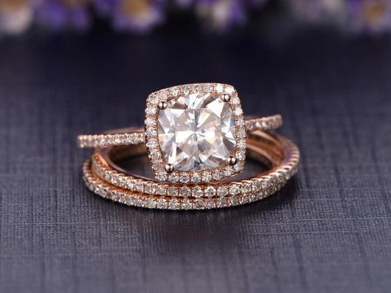 2 Carat Cushion Cut Moissanite and Diamond Halo Trio Wedding Ring Set in Rose Gold