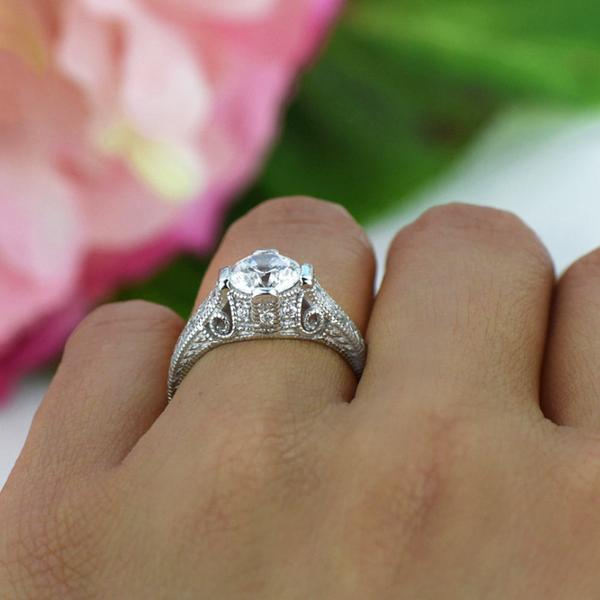 Final Sale 1.5 Carat Round Cut Vintage Scroll Engagement Ring in White Gold over Sterling Silver