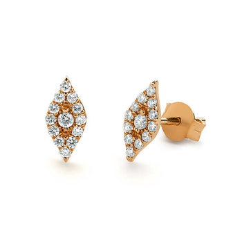 .50 Carat Round Cut Diamond Cluster Stud Earrings in Rose Gold