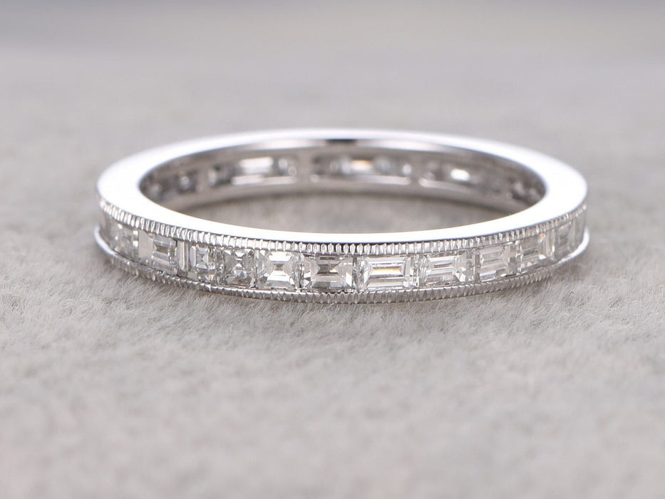 1 Carat baguette cut Diamond Wedding Ring Band for Women in White Gold