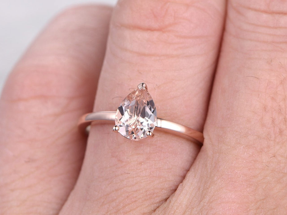 35b7dba9fe0ab Solitaire 1 Carat Pear Cut Morganite Engagement Ring in Rose Gold