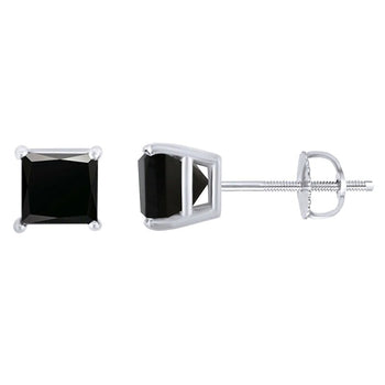 Solitaire 2 Carat Princess Cut Black Diamond Screw Back Earrings in White Gold