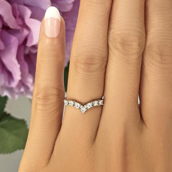 0.5 Carat Seven Stones Chevron Wedding Band in White Gold over Sterling Silver