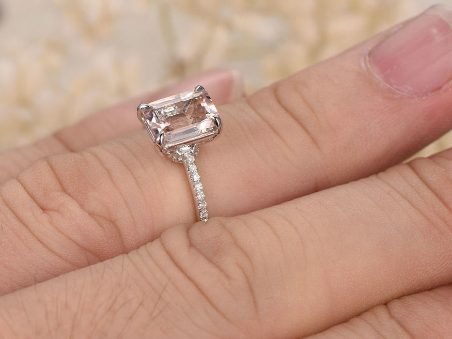 1.25 Carat Emerald Cut Morganite and Diamond Engagement Ring in 9k White Gold