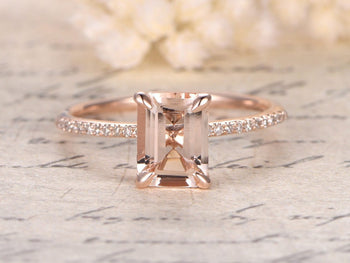 1.25 Carat Emerald Cut Morganite and Diamond Engagement Ring in Rose Gold