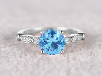 Bestselling 1.25 Carat Round Cut Aquamarine and Diamond Engagement Ring in White Gold