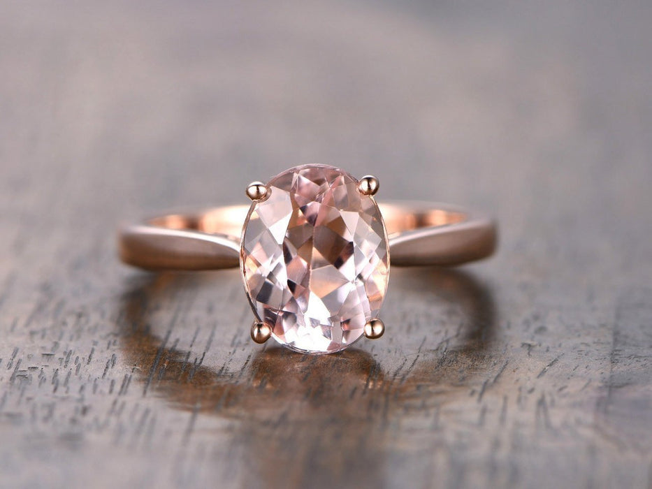 1 Carat Oval Cut Solitaire Engagement Ring with Morganite in Rose Gold