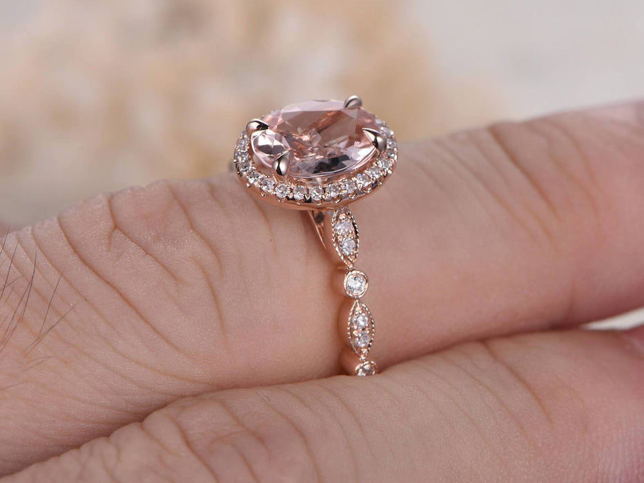 1.50 Carat Art Deco Oval Cut Morganite and Diamond Halo Engagement Ring in Rose Gold