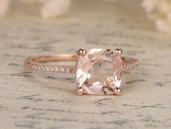 Antique 1.50 Carat Art deco Cushion Cut Morganite and Diamond Bridal Ring Set in Rose Gold