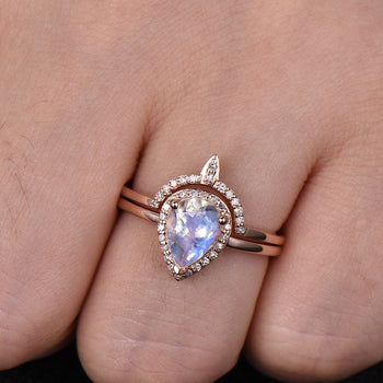 Antique 1.50 Carat Pear Shape Rainbow Moonstone and Diamond Halo Wedding Set in Rose Gold