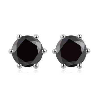 2 Carat Round Cut Black Diamond 6 Prong Stud Earrings in White Gold