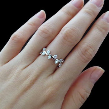 1.25 Carat Vine Eternity Wedding Band in White Gold over Sterling Silver