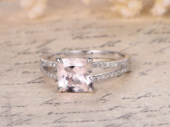 1.50 Carat Cushion Cut Morganite and Diamond Split Shank Engagement Ring in White Gold