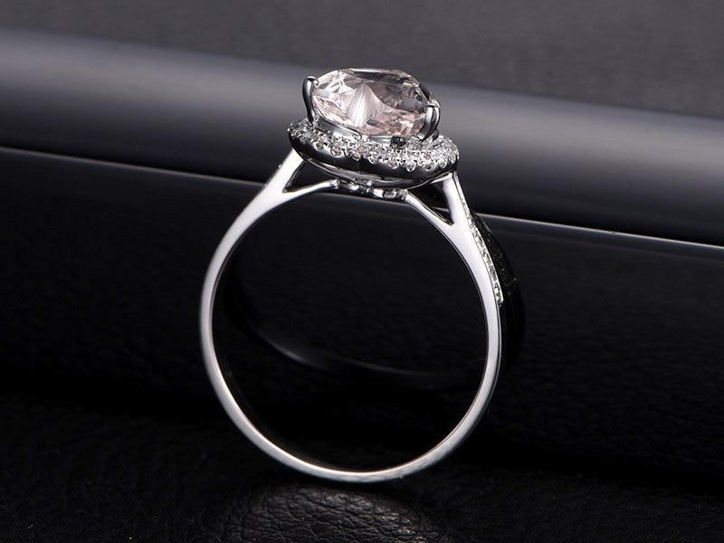 1.25 Carat Heart Shape Morganite and Diamond Halo Engagement Ring in White Gold