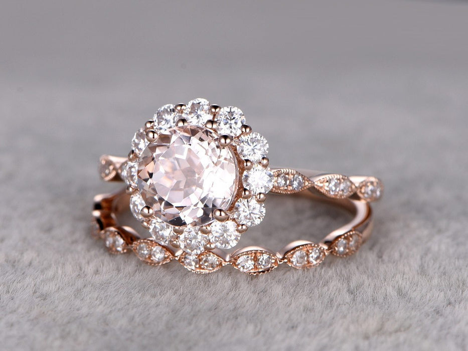 Flower Shape 2 Carat Round Cut Halo Morganite  and Diamond Wedding Set in Rose Gold