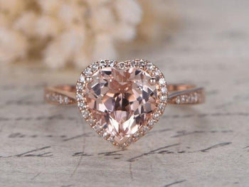 1.25 Carat Heart Shape Morganite and Diamond Halo Engagement Ring in Rose Gold