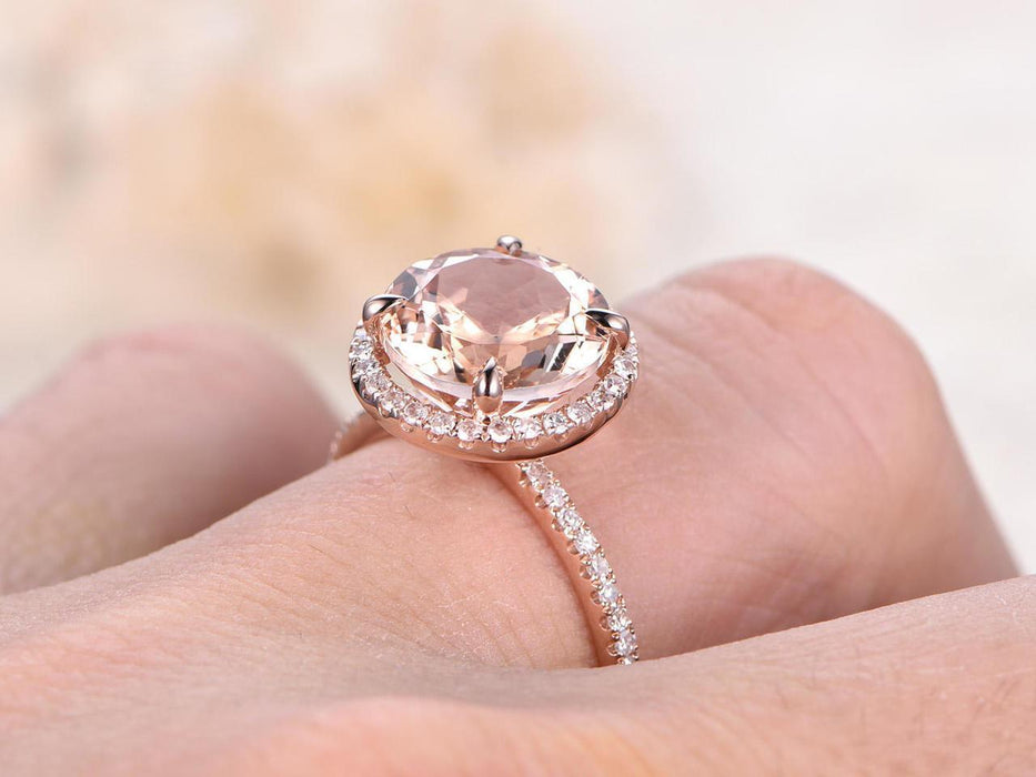 2 Carat Round Cut Morganite and Diamond Wedding Ring in Rose Gold