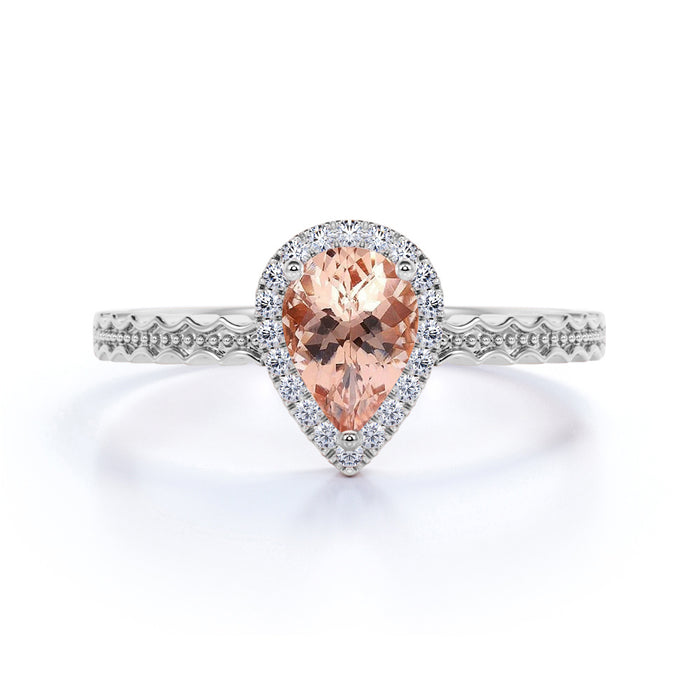 1.25 Carat Pink Pear Shaped Morganite and Diamond Halo Engraved Band Engagement Ring in Rose Gold