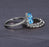 2 Carat Oval Cut Aquamarine and Diamond Trio Wedding Ring Set with engagement ring and 2 wedding bands in White Gold