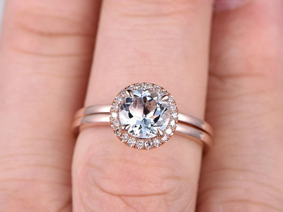 Perfect 1.25 Carat Round Cut Aquamarine and Diamond Wedding Set with Plain Wedding Band in Rose Gold