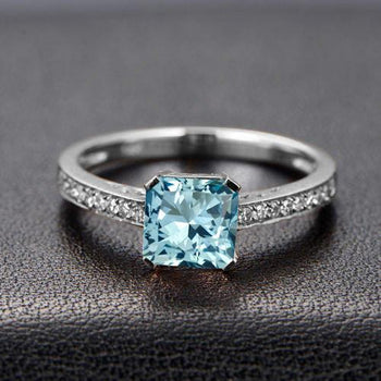 Beautiful 1.25 Carat Princess Cut Aquamarine and Diamond Engagement Ring in White Gold