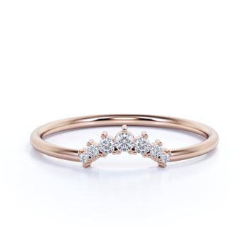 Delicately Curved Stacking Wedding Ring Band in Rose Gold