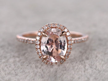Huge 2 Carat Oval Cut Morganite and Diamond Halo Wedding Ring in Rose Gold