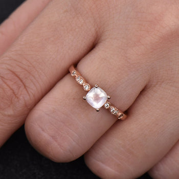 Art Deco 1.25 Carat Cushion Cut Rainbow Moonstone and Diamond Engagement Ring in Rose Gold