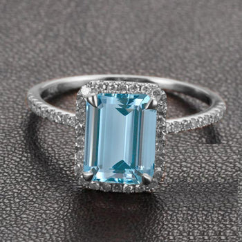 Beautiful 1.50 Carat Emerald Cut Aquamarine and Diamond Halo Engagement Ring in White Gold