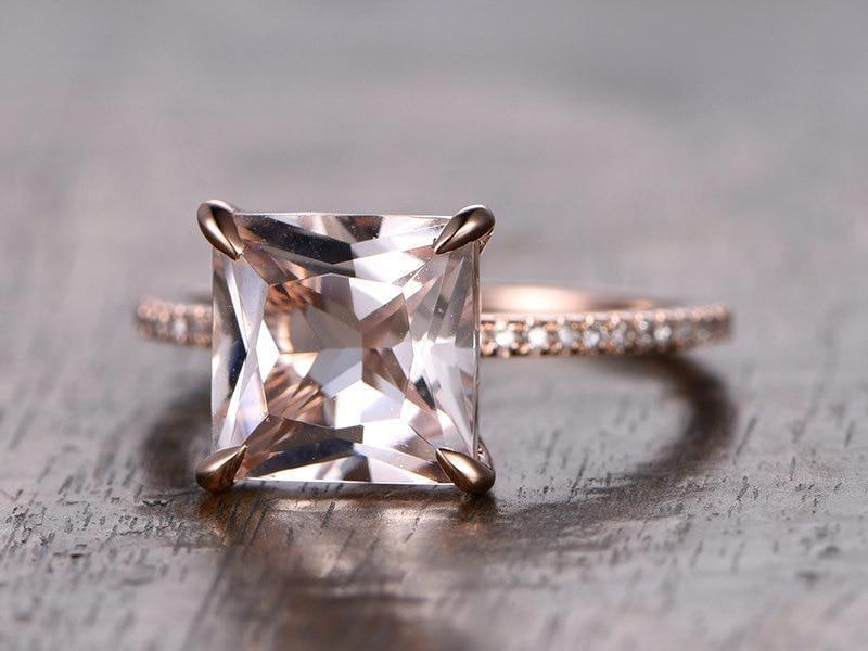 1.25 Carat Princess Cut Morganite and Diamond Engagement Ring in 9k Rose Gold