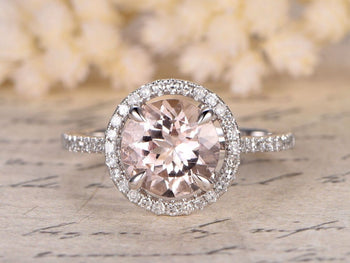 2 Carat Round Cut Morganite and Diamond Halo Engagement Ring in White Gold
