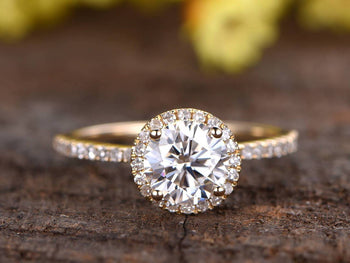 Beautiful Art Deco 1.50 Carat Round Cut Moissanite and Diamond Halo Engagement Ring in 9k Rose Gold