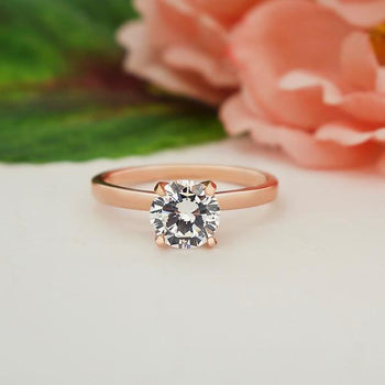 1 Catat Round Cut Solitaire Engagement Ring in Rose Gold over Sterling Silver