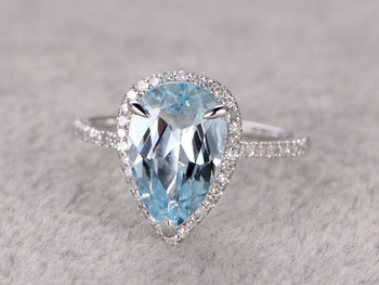 1.50 Carat Pear Cut Aquamarine and Diamond Halo Engagement Ring in White Gold