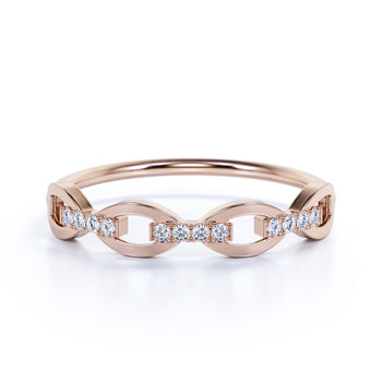 12 Stone Chain Link Stacking Wedding Ring with Square Cut Diamonds in Rose Gold