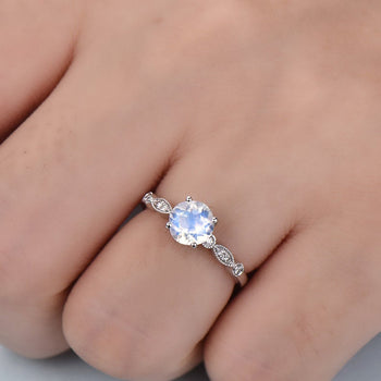 Four Prong 1.25 Carat Round Cut Blue Moonstone and Diamond Art Deco Engagement Ring in White Gold