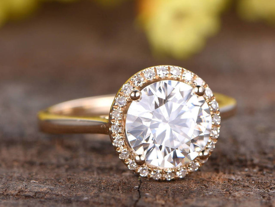 1.25 Carat Round Cut Halo Moissanite and Diamond Engagement Ring in Yellow Gold