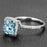 Perfect 1.50 Carat cushion cut Aquamarine and Diamond Engagement Ring in White Gold