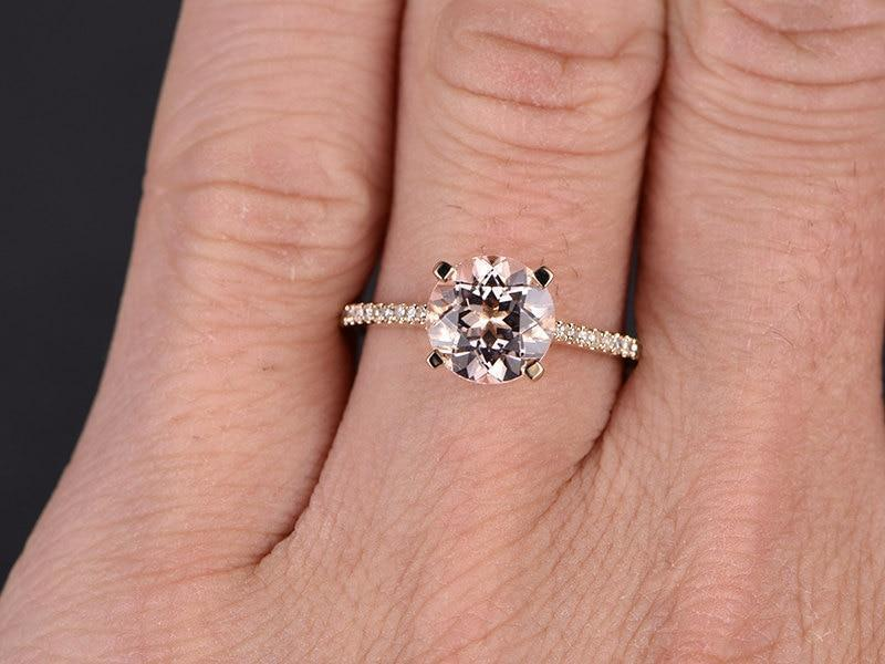 1.25 Carat Round Cut Morganite and Diamond Halo Engagement Ring in 9k Rose Gold