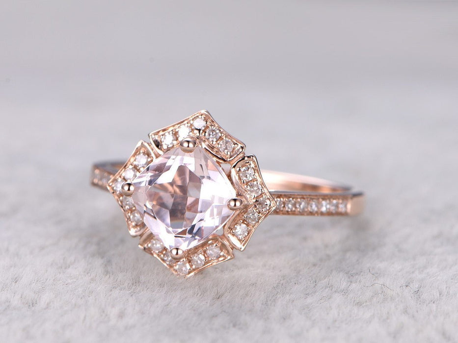 Art Deco 1.50 Carat Cushion Cut Morganite and Diamond Engagement Ring  in Rose Gold