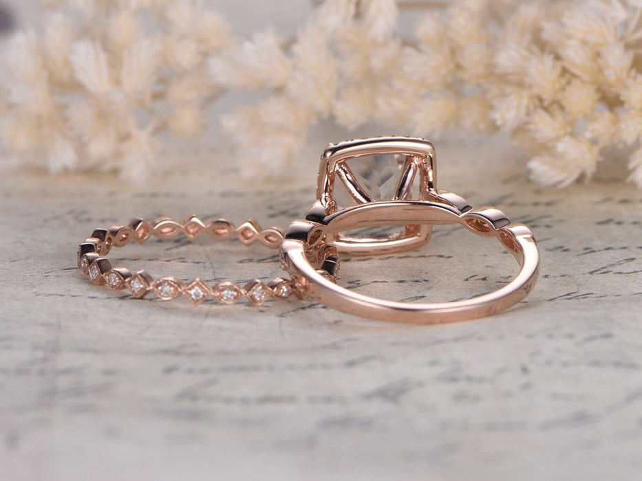 1.50 Carat Princess Cut Morganite and Diamond Wedding Ring Set in Art Deco Style in Rose Gold