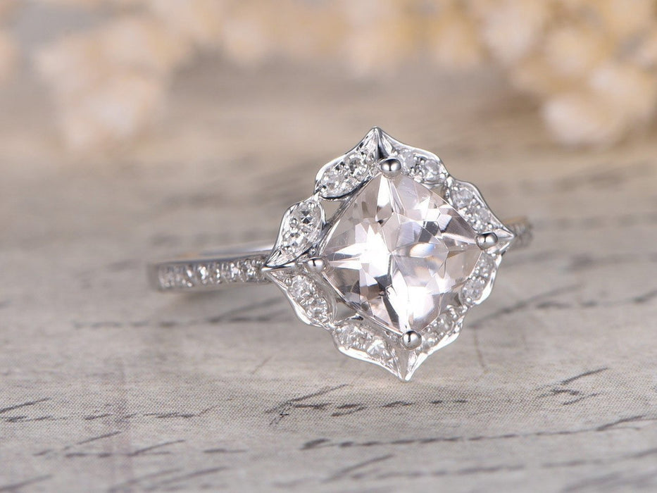 Unique 1.25 Carat Cushion Cut Morganite and Diamond Engagement Ring White Gold