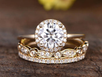 2 Carat Round Cut Moissanite and Diamond Halo Trio Wedding Ring Set in Yellow Gold