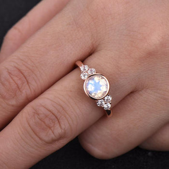 Elegant Bezel 1.50 Carat Round Cut Rainbow Moonstone and 6 Stone Diamond Engagement Ring in Rose Gold