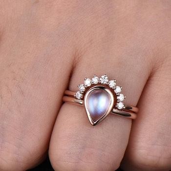 Bezel 1.25 Carat Pear Shape Blue Moonstone and Diamond Wedding Set with Crown Band in Rose Gold