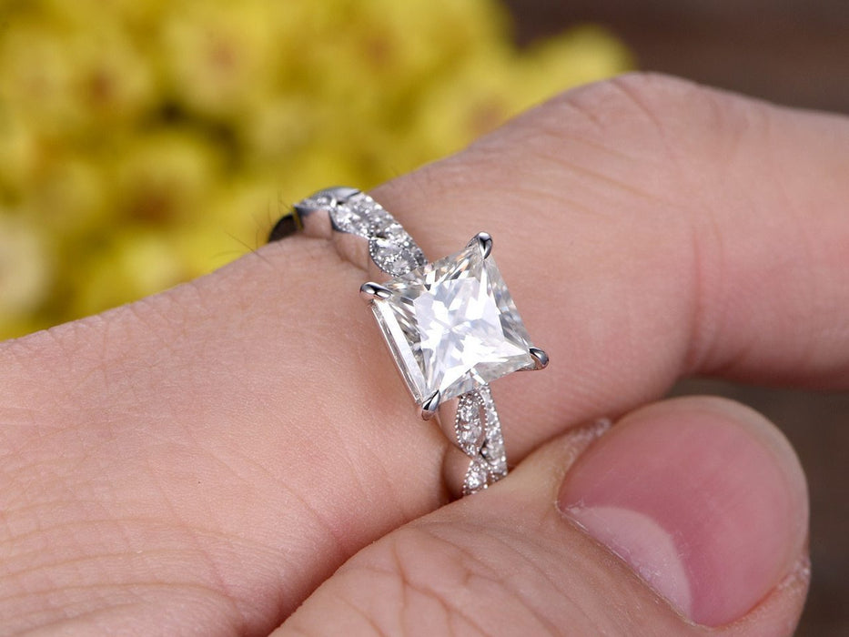 2 Carat Art Deco Princess Cut Moissanite and Diamond Wedding Ring Set in White Gold
