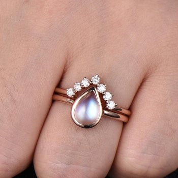Vintage 1.25 Carat Pear Shape Blue Moonstone and Diamond Wedding Set with Crown Band in Rose Gold